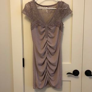 Free People Ruched and Lace Purple Party Dress